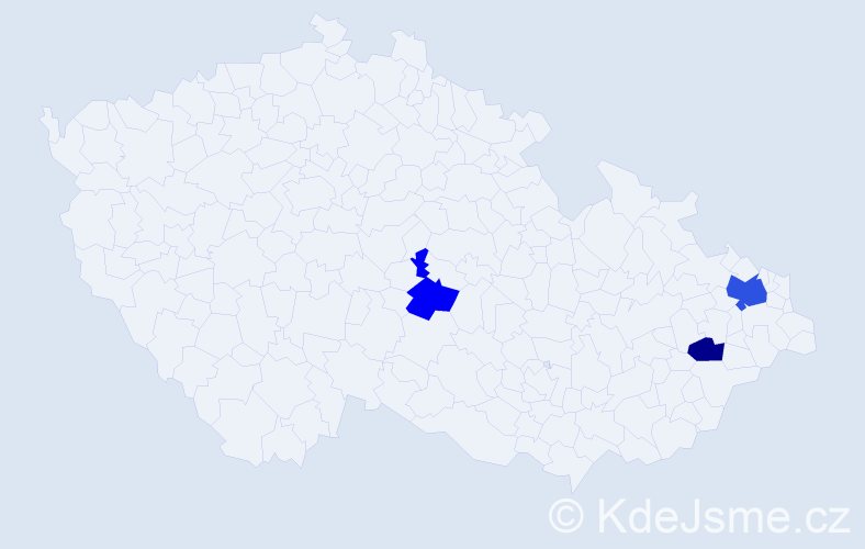 Příjmení: 'Goceliaková', počet výskytů 5 v celé ČR