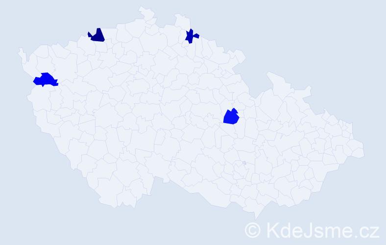 Příjmení: 'Bodo', počet výskytů 5 v celé ČR