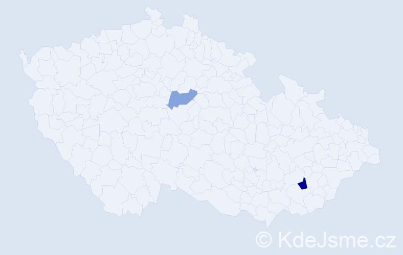 Příjmení: 'Cápalková', počet výskytů 3 v celé ČR