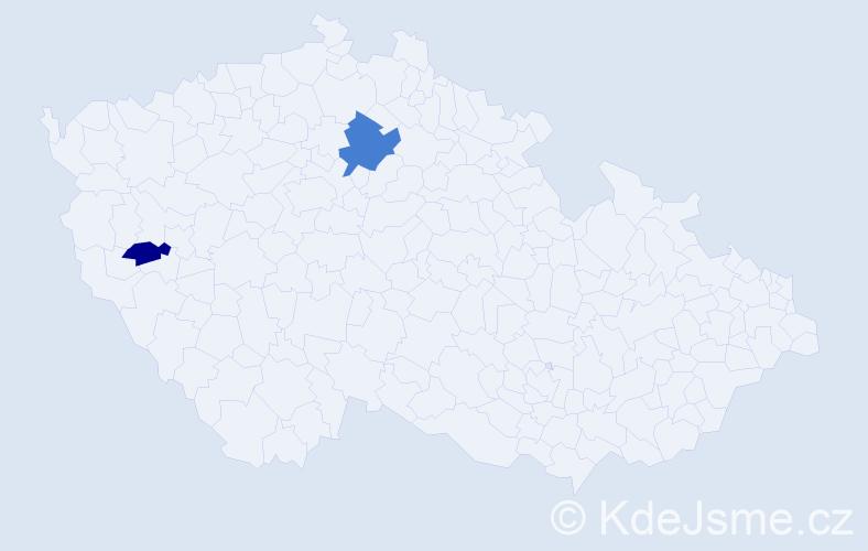 Příjmení: 'Lazo', počet výskytů 3 v celé ČR
