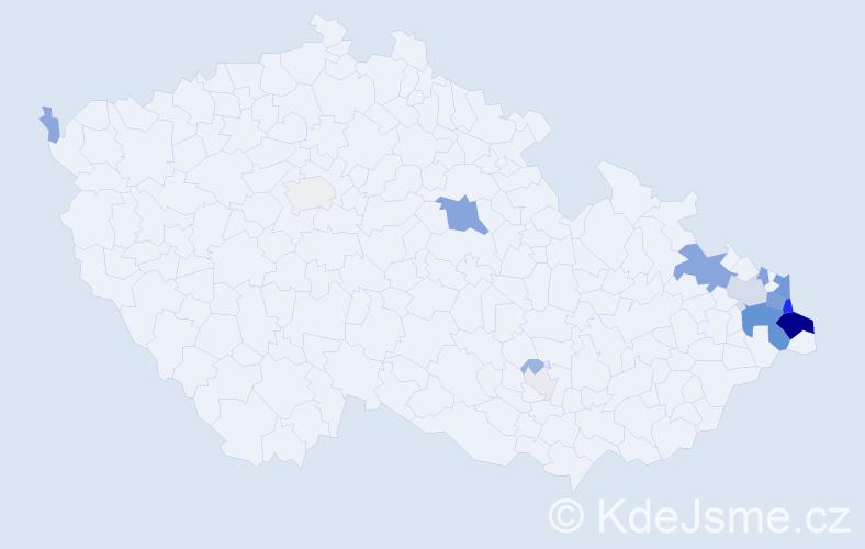 Příjmení: 'Kokotková', počet výskytů 61 v celé ČR