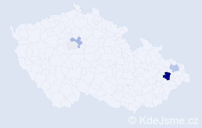 Příjmení: 'Hajdyla', počet výskytů 8 v celé ČR