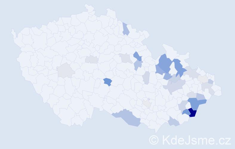 Příjmení: 'Baklíková', počet výskytů 87 v celé ČR