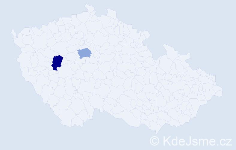 Příjmení: 'Inemann', počet výskytů 5 v celé ČR
