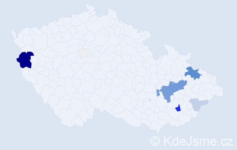 Příjmení: 'Hlačík', počet výskytů 28 v celé ČR