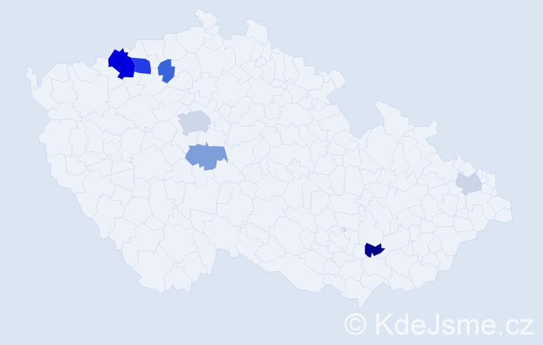 Příjmení: 'Hrebičíková', počet výskytů 14 v celé ČR