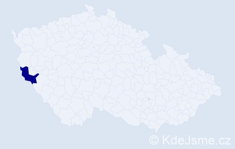 """Příjmení: '""""Jiroutová Nová""""', počet výskytů 1 v celé ČR"""