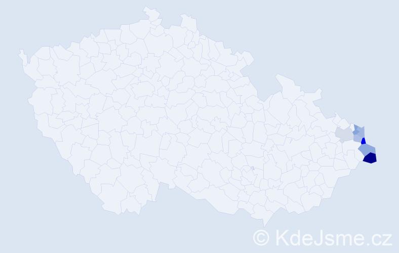 Příjmení: 'Dal', počet výskytů 9 v celé ČR