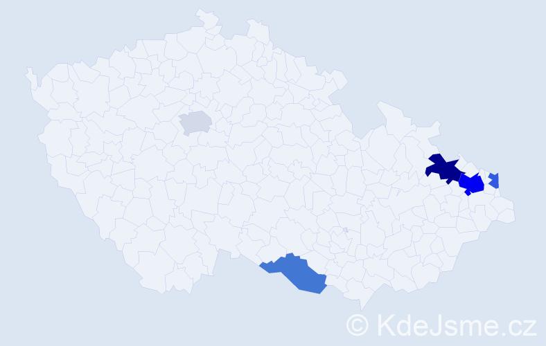 Příjmení: 'Jablonski', počet výskytů 9 v celé ČR