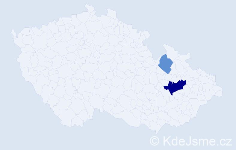 Příjmení: 'Hedová', počet výskytů 5 v celé ČR