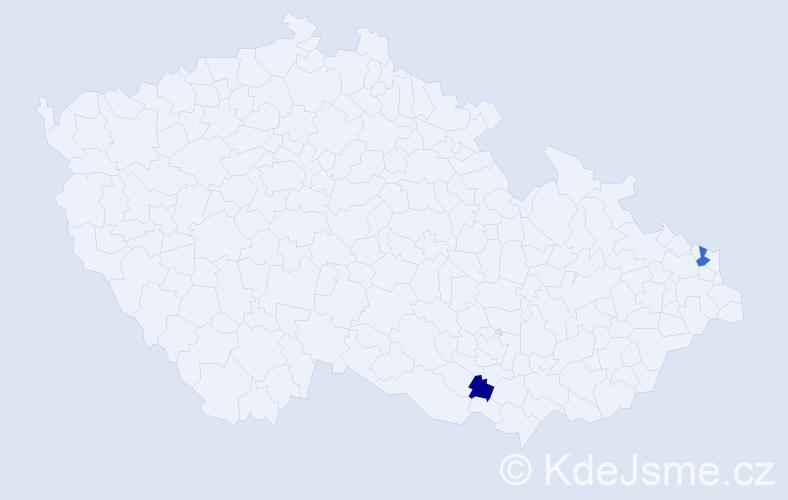 Příjmení: 'Kašniar', počet výskytů 6 v celé ČR