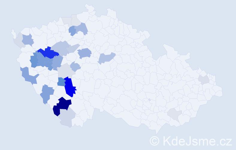 Příjmení: 'Huleš', počet výskytů 125 v celé ČR