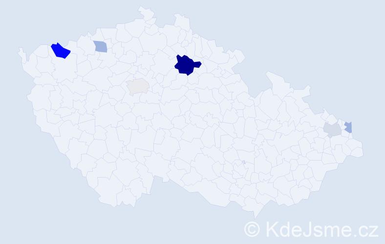 Příjmení: 'Ághová', počet výskytů 10 v celé ČR