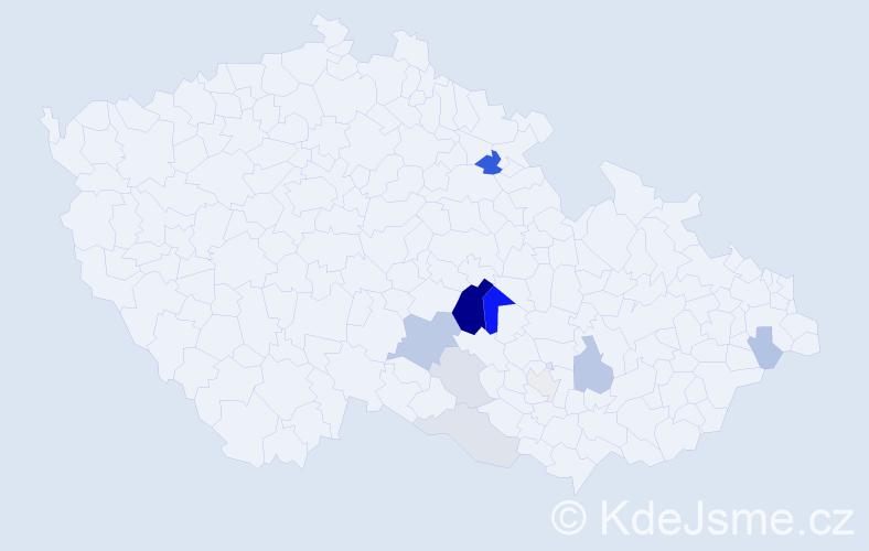 Příjmení: 'Holemář', počet výskytů 33 v celé ČR