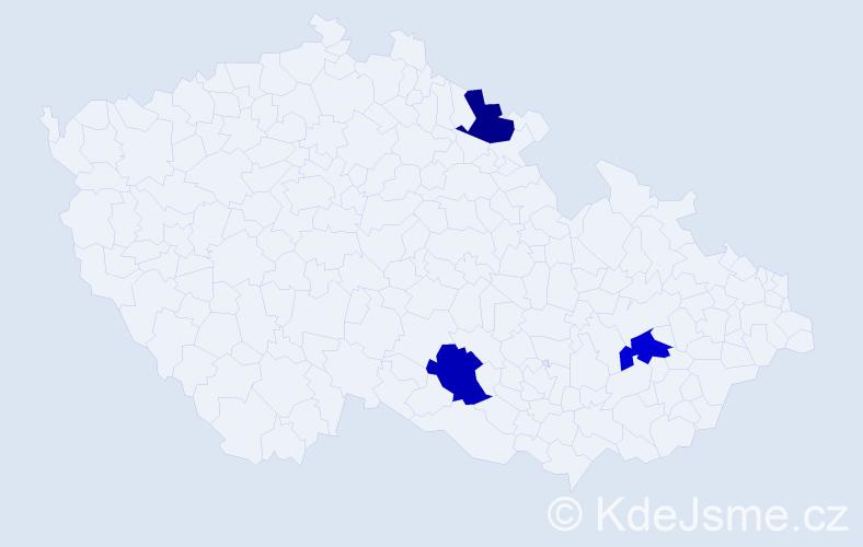 Příjmení: 'Bogdaňová', počet výskytů 3 v celé ČR
