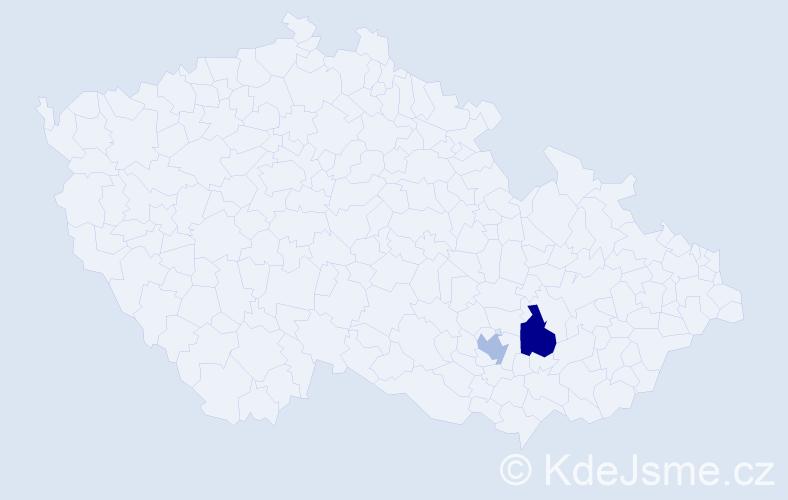 Příjmení: 'Čača', počet výskytů 5 v celé ČR