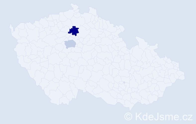 Příjmení: 'Ingalová', počet výskytů 5 v celé ČR
