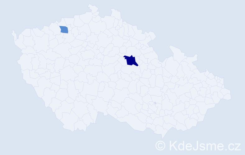 Příjmení: 'Derik', počet výskytů 4 v celé ČR