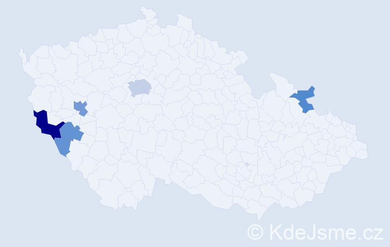 Příjmení: 'Hajtová', počet výskytů 9 v celé ČR