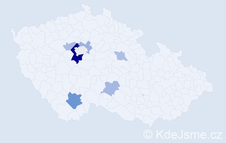 Příjmení: 'Ivanega', počet výskytů 15 v celé ČR