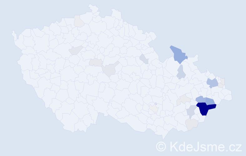 Příjmení: 'Kandrač', počet výskytů 103 v celé ČR