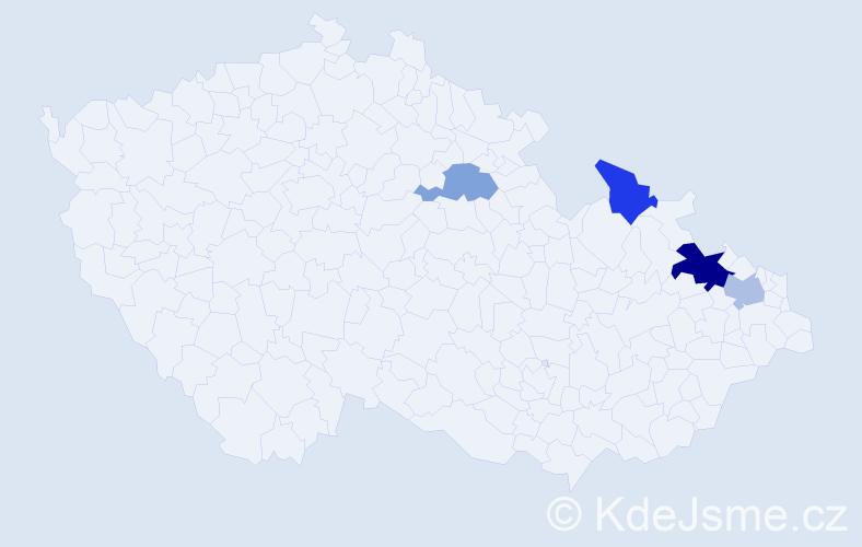 Příjmení: 'Gřondil', počet výskytů 6 v celé ČR