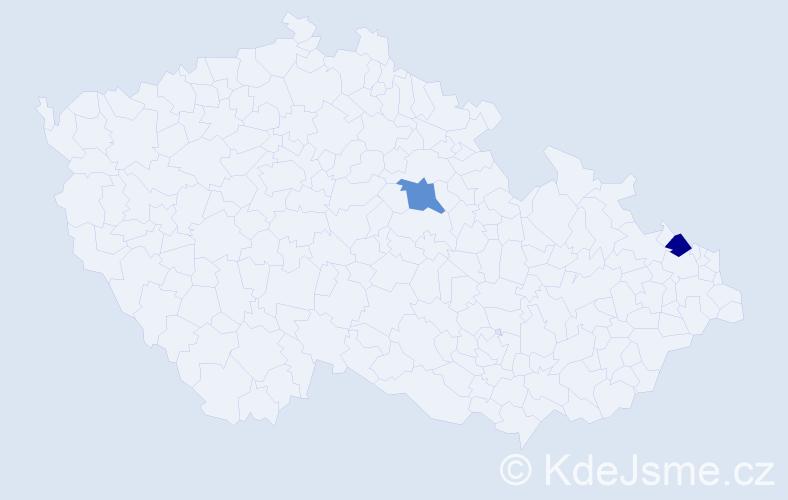 Příjmení: 'Lukašová', počet výskytů 2 v celé ČR