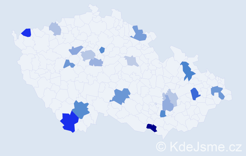 Příjmení: 'Ivanko', počet výskytů 44 v celé ČR