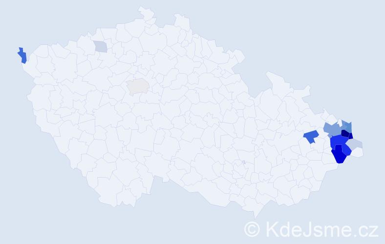 Příjmení: 'Funioková', počet výskytů 65 v celé ČR