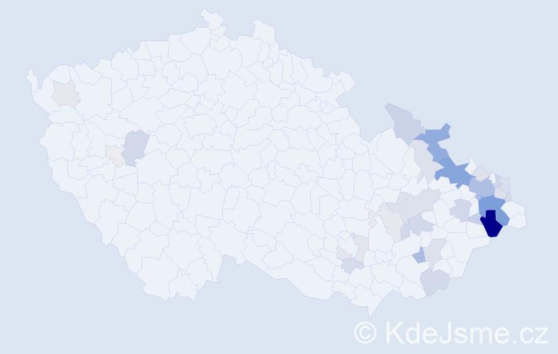 Příjmení: 'Chlopčíková', počet výskytů 97 v celé ČR