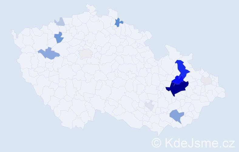 Příjmení: 'Číhalíková', počet výskytů 50 v celé ČR