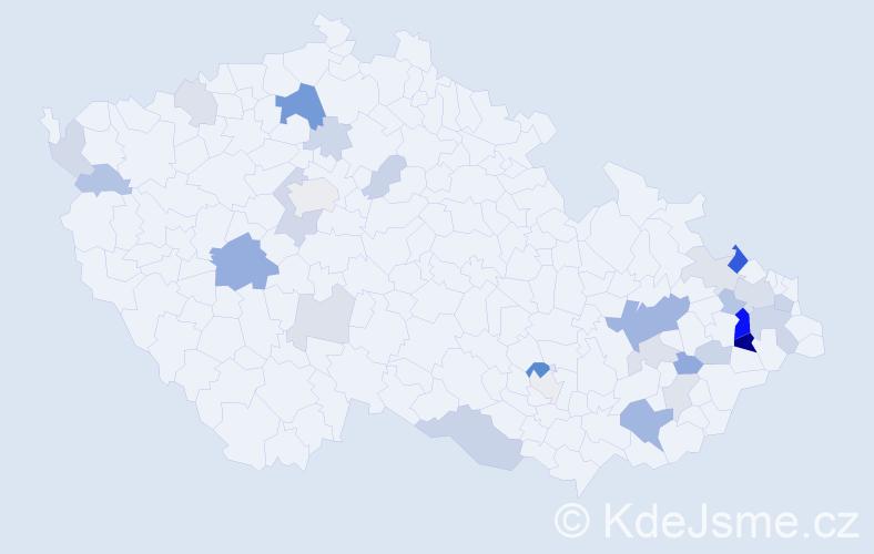 Příjmení: 'Gillar', počet výskytů 70 v celé ČR