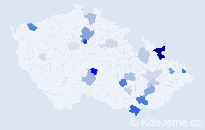 Příjmení: 'Goldmanová', počet výskytů 51 v celé ČR