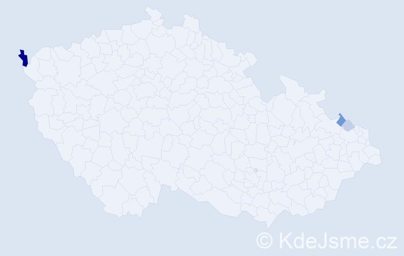Příjmení: 'Jarzab', počet výskytů 8 v celé ČR