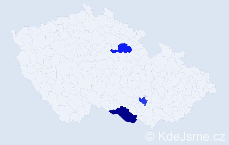 Příjmení: 'Kanala', počet výskytů 4 v celé ČR