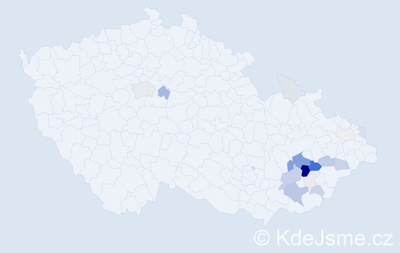 Příjmení: 'Daďová', počet výskytů 64 v celé ČR