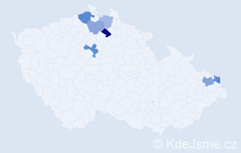 Příjmení: 'Eugelová', počet výskytů 13 v celé ČR