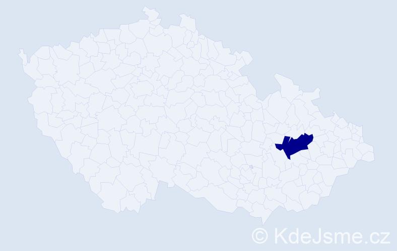 """Příjmení: '""""Harantová Helešicová""""', počet výskytů 1 v celé ČR"""