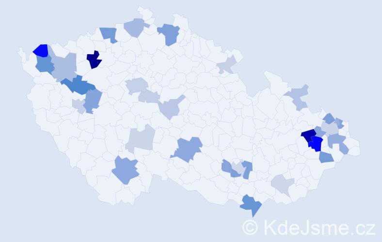 Příjmení: 'Červenec', počet výskytů 91 v celé ČR