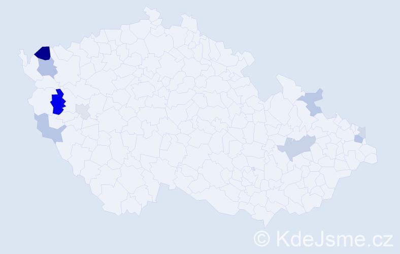 Příjmení: 'Fiziková', počet výskytů 16 v celé ČR
