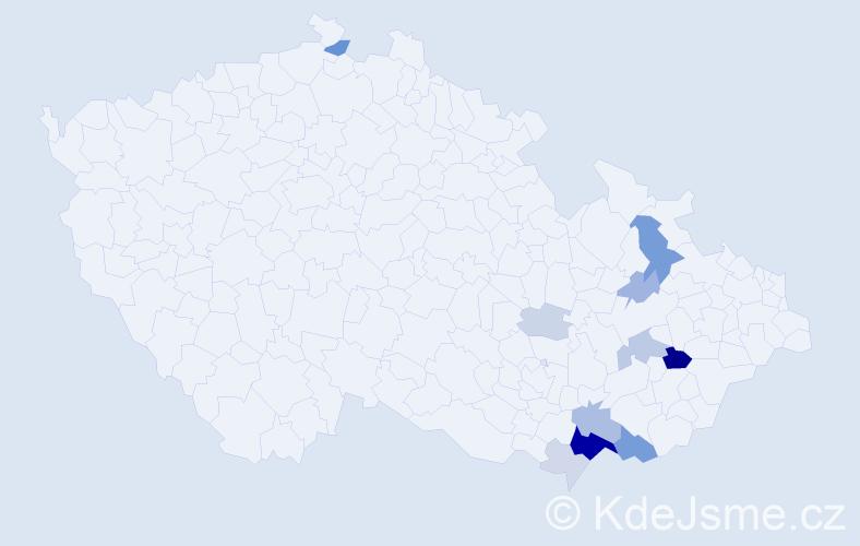 Příjmení: 'Hačunda', počet výskytů 34 v celé ČR