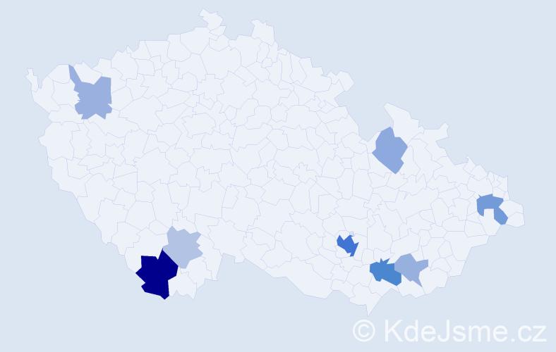 Příjmení: 'Bajnoková', počet výskytů 20 v celé ČR