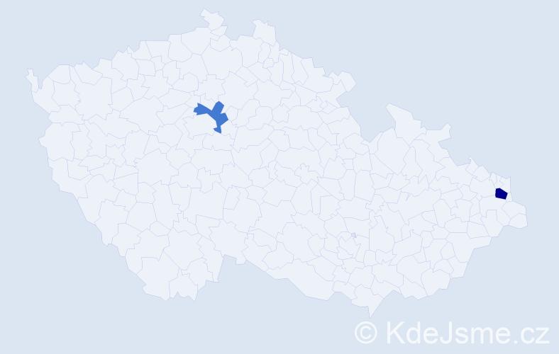 Příjmení: 'Jevulová', počet výskytů 3 v celé ČR