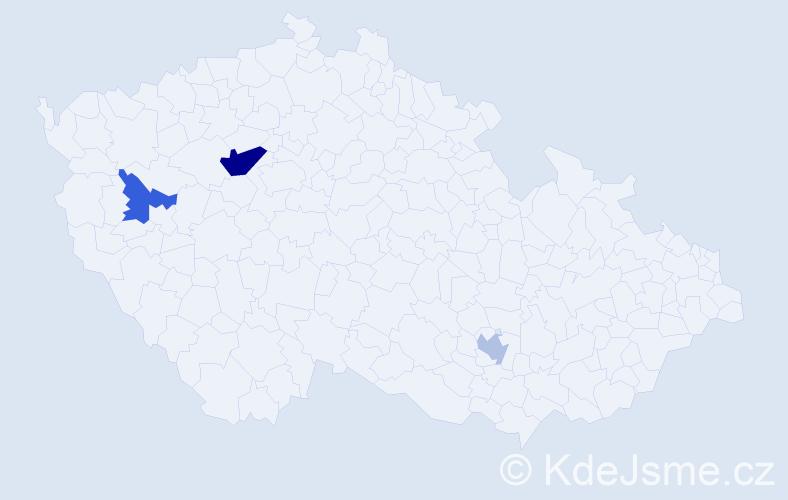 Příjmení: 'Klablenová', počet výskytů 5 v celé ČR