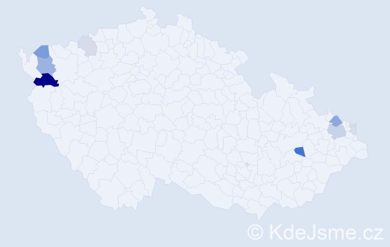Příjmení: 'Kostolányová', počet výskytů 20 v celé ČR