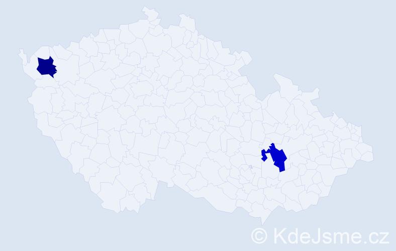 Příjmení: 'Eviaková', počet výskytů 2 v celé ČR