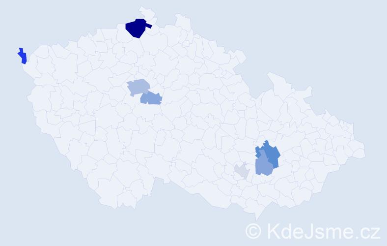 Příjmení: 'Inger', počet výskytů 21 v celé ČR