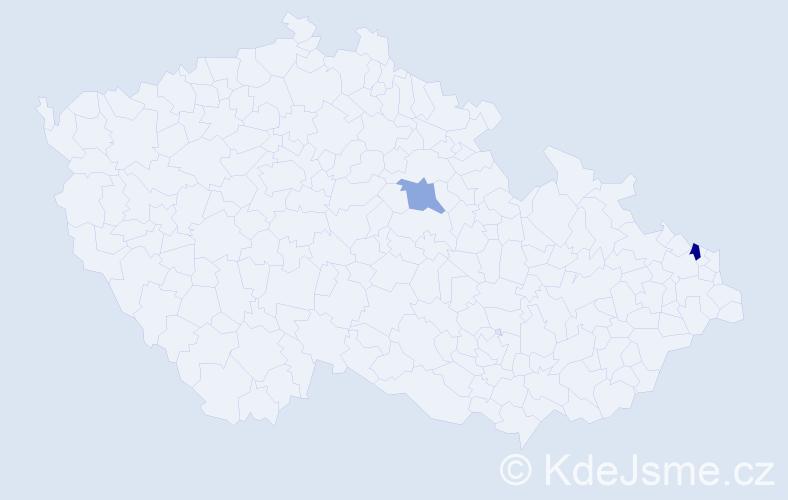 Příjmení: 'Čempěl', počet výskytů 5 v celé ČR
