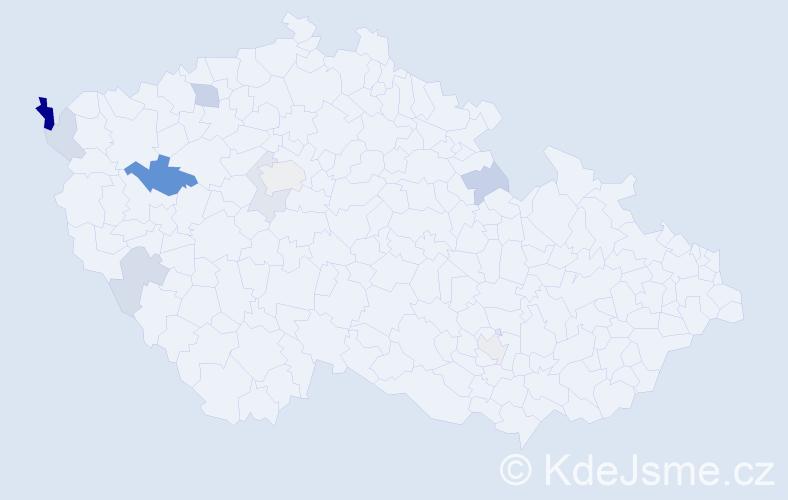 Příjmení: 'Malárik', počet výskytů 18 v celé ČR