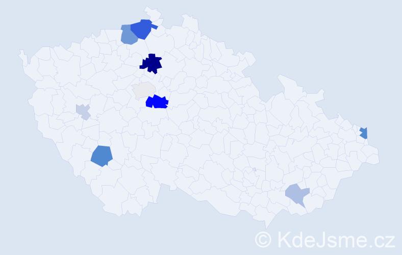 Příjmení: 'Kupčo', počet výskytů 23 v celé ČR